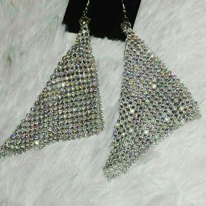 Date Night Mesh Bling Earrings- Silver Tone